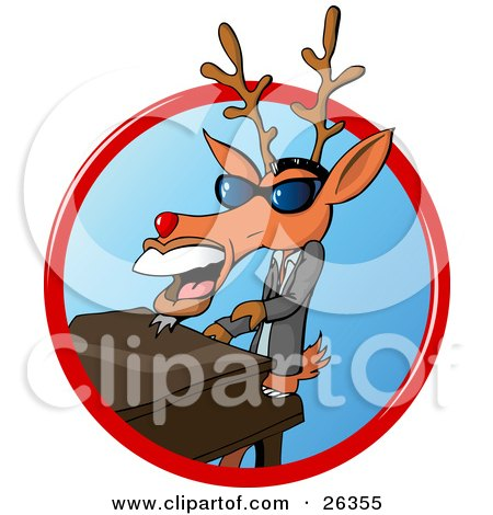 Clipart Illustration of a Deer With Antlers, Resembling Ray Charles, Wearing Shades, Playing A Piano And Singing by Holger Bogen