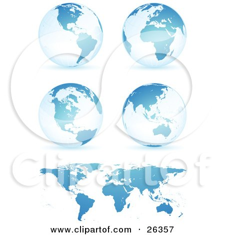 Four Blue Globes Showing Different Continents With A Flat Map, Over White Posters, Art Prints