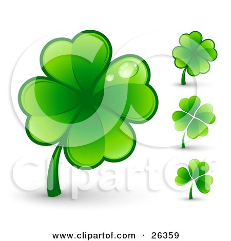 Big Green Four Leaf Clover With Two Dew Drops On The Leaves, Also Includes Three Other Clovers Posters, Art Prints