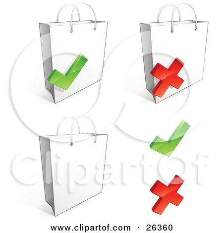 Clipart Illustration of Three White Shopping Bags With Check Marks And X Marks by beboy