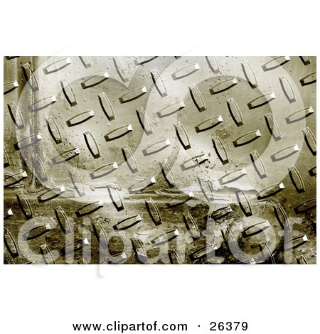 Clipart Illustration of a Background Of A Grunge Metal Plate With Rivets by KJ Pargeter
