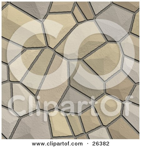 Clipart Illustration of a Background Of Cobblestones Together, Creating A Road by KJ Pargeter