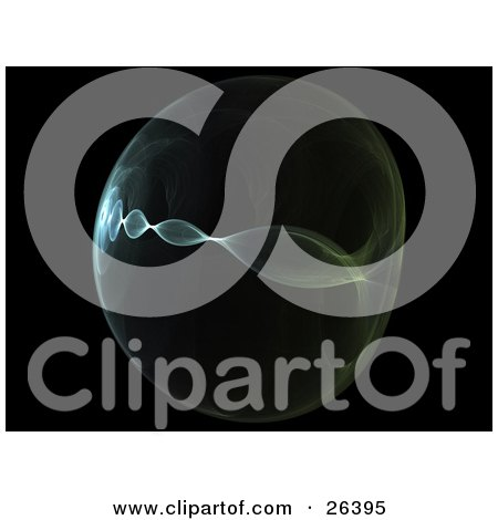 Clipart Illustration of a Green Orb Fractal With A Twisting Center And Burst Of Light, Over Black by KJ Pargeter