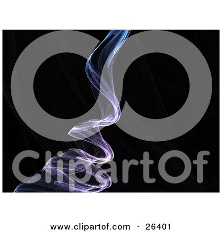 Clipart Illustration of a Purple Fractal Rising Like Smoke Over A Black Background With Faint Green Lines by KJ Pargeter