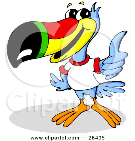 Clipart Illustration of a Blue Toucan Bird With A Red, Yellow, Green And Black Beak, Wearing A White T Shirt And Giving The Thumbs Up by Holger Bogen