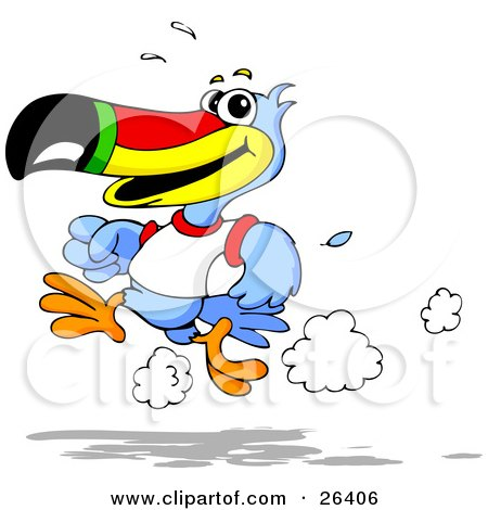 Clipart Illustration of a Blue Toucan Bird With A Red, Yellow, Green And Black Beak, Wearing A White T Shirt And Running On A Track by Holger Bogen