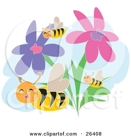 Clipart Illustration of Three Happy Honey Bees Flying Through Pink And Purple Flowers