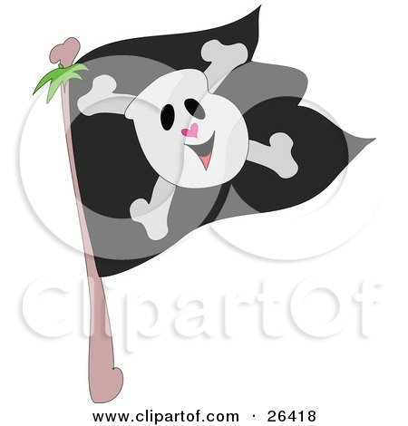 Royalty-free clipart picture of a smiling skull and crossbones on a black