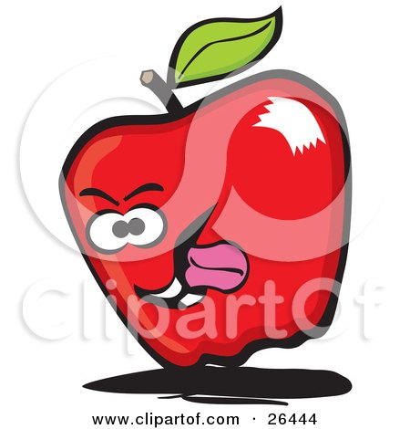 Clipart Illustration of a Red Apple Character Sticking Its Tongue Out by David Rey