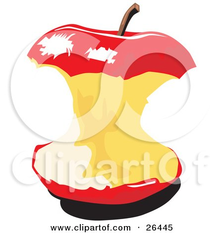 Royalty-free nutrition clipart picture of a red apple core with a stem on