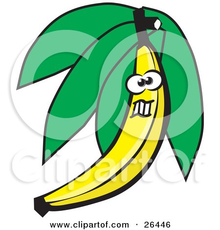 Clipart Illustration of a Yellow Banana Character With Leaves, Making A Funny Face by David Rey