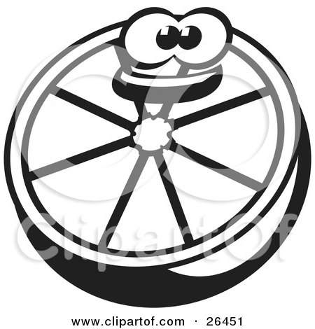 Clipart Illustration of a Happy Halved Orange Character Smiling, Black And White by David Rey