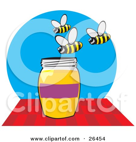 Group Of Grinning Bees Buzzing Above A Honey Jar Posters, Art Prints