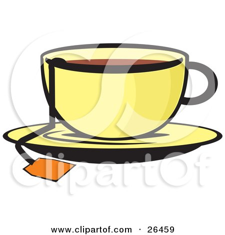 The String Of A Tea Bag Hanging Out Of A Cup Of Hot Tea On A Saucer Posters, Art Prints