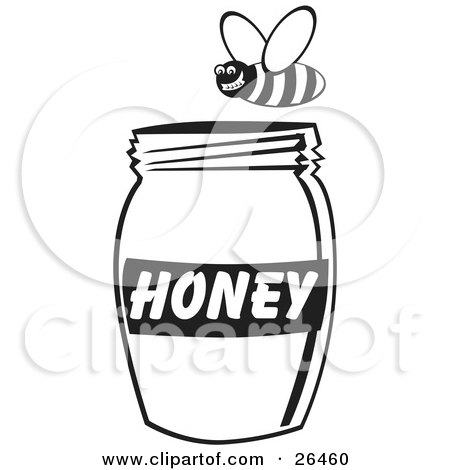 Grinning Bee Flying Above A Jar Of Honey, Black And White Posters, Art Prints