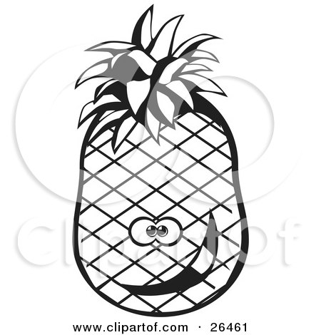 Clipart Illustration of a Goofy Pineapple Character Smiling, Black And White by David Rey