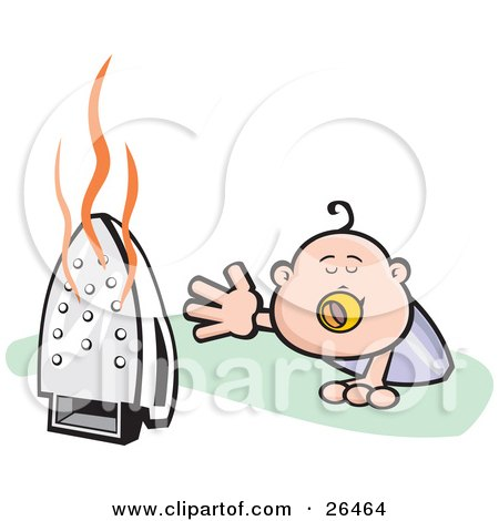 http://images.clipartof.com/small/26464-Clipart-Illustration-Of-A-Crawling-Baby-Reaching-For-A-Dangerous-Hot-Iron-That-Was-Left-On