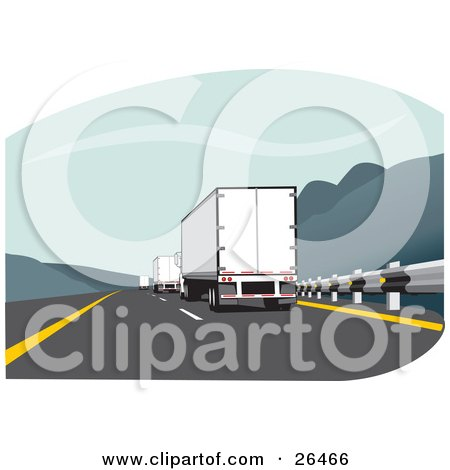 Clipart Illustration of a Big Rig Truck Driving In The Slow Lane Behind Other Trucks On The Highway by David Rey