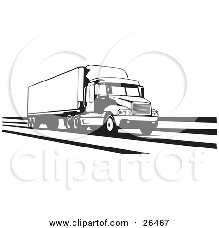 Clipart Illustration of a Big Rig Truck Speeding Along The Interstate, Black And White by David Rey