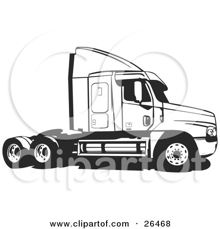 Clipart Illustration of a Big Rig Truck Without The Cargo Carrier, Black And White by David Rey