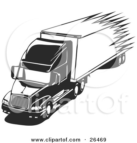 Clipart Illustration of a Speeding Big Rig Truck Driving On The Highway, Black And White by David Rey