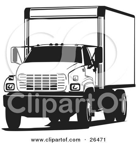 Clipart Illustration of a Big Delivery Truck Parked, In Black And White by David Rey