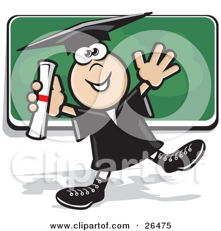 Happy Graduate Boy In A Cap And Gown, Dancing With His Diploma In Front Of A Chalk Board Posters, Art Prints