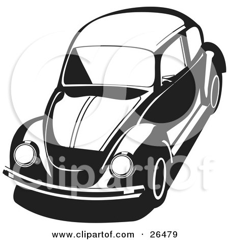 Small  Photo on 26479 Clipart Illustration Of A Vw Agen Bug Car In Black And White Jpg