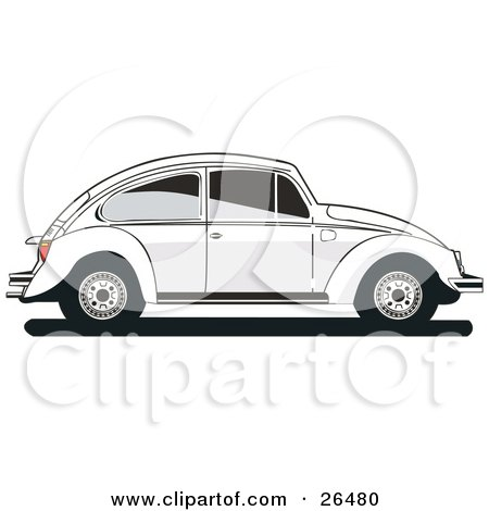 Clipart Illustration of a White Volkswagen Bug Car In Profile, With Tinted Windows by David Rey