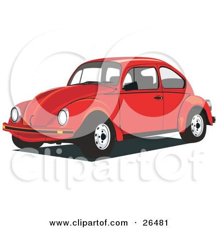 Clipart Illustration of a Red Volkswagen Beetle Car by David Rey