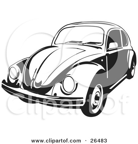 Clipart Illustration of a Volkswagen Beetle Car In Black And White by David Rey