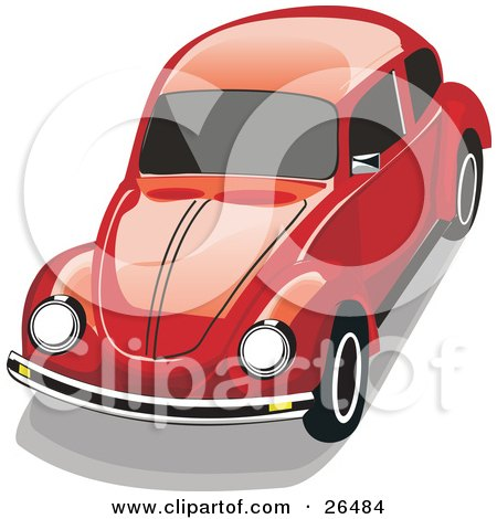 Clipart Illustration of a Red VW Beetle Car by David Rey
