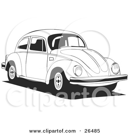 Clipart Illustration of a Volkswagen Bug Car Driving to the Right In Black And White by David Rey