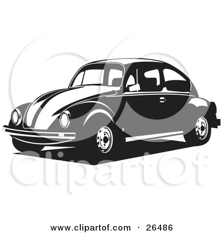 Clipart Illustration of a Volkswagen Bug Car Driving To The Left In Black And White by David Rey
