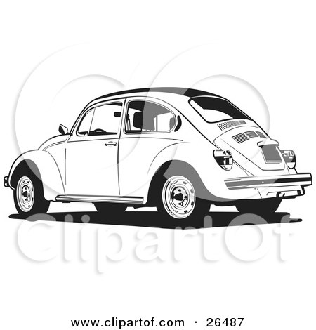 Clipart Illustration of a Parked Volkswagen Bug Car In Black And White by David Rey