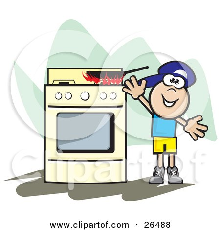 Clipart Illustration of a Little Boy Reaching Up For A Pan On Top Of A Stove, With Flames Rising From The Surface by David Rey