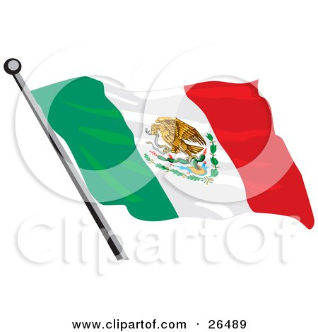 Mexican Flag With The Golden Eagle, Cactus And Snake Coat Of Arms Posters, Art Prints