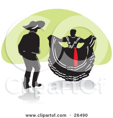 Clipart Illustration of a Mexican Man And Woman Performing A Folkloric Dance In Mexico by David Rey