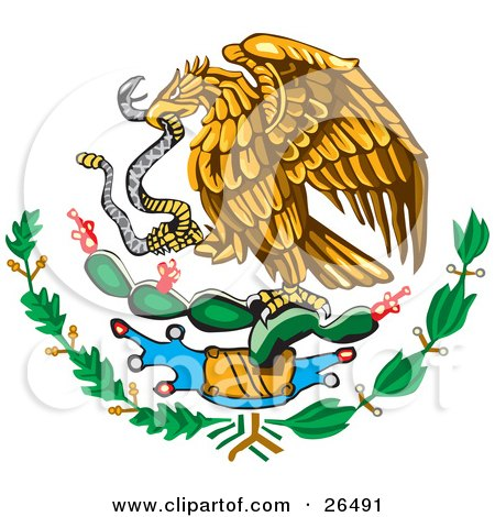 Clipart Illustration of The Mexican Coat Of Arms Showing The Eagle Perched On A Cactus, Eating A Snake by David Rey