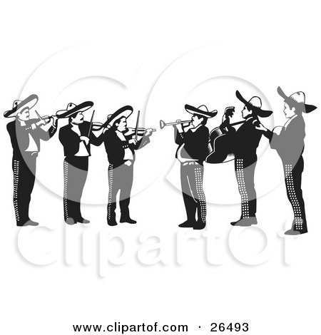 Clipart Illustration of a Mariachi Band Of Men Playing Violins, Trumpets And Guitars In Mexico by David Rey