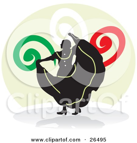 Clipart Illustration of a Silhouetted Mexican Woman Holding Up Her Dress While Performing A Folkloric Dance In Mexico by David Rey