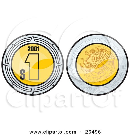 The Front And Back Side Of A Golden Mexican Peso Showing The Currency On One Side And The Coat Of Arms On The Other Posters, Art Prints