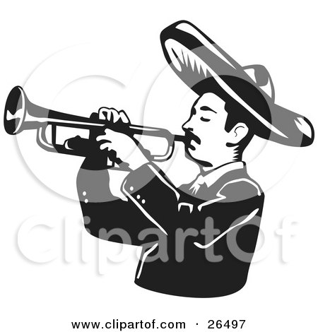 Mariachi Band Man Wearing A Sombrero And Playing A Trumpet Posters, Art Prints