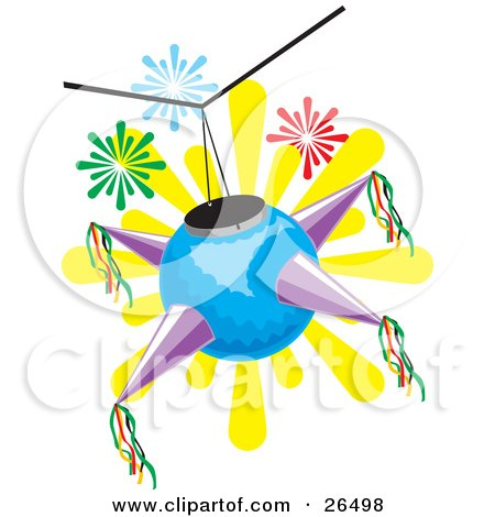 Clipart Illustration of a Blue And Purple Mexican Pinata Hanging From A Ceiling At A Birthday Or Holiday Party by David Rey