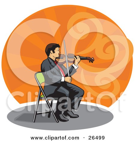 Clipart Illustration of a Professional Male Violinist Sitting In A Chair And Playing A Violin by David Rey