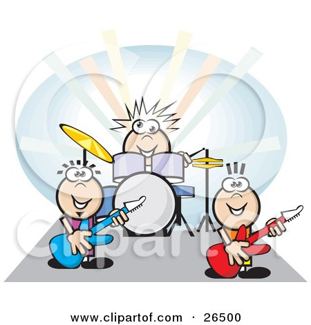 Group Of Three Musicians Playing The Drums And Guitars At A Rock Concert Posters, Art Prints