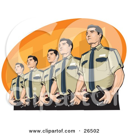 Clipart Illustration of a Line Of Proud Male Police Officers Standing In Uniform by David Rey