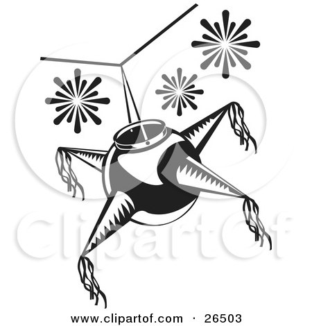 Mexican Pinata Hanging From A Ceiling At A Birthday Or Holiday Party, Black And White Posters, Art Prints