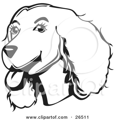 Clipart Illustration of a Friendly Cocker Spaniel Dog With Its Tongue Hanging Out Of Its Mouth, Black And White by David Rey