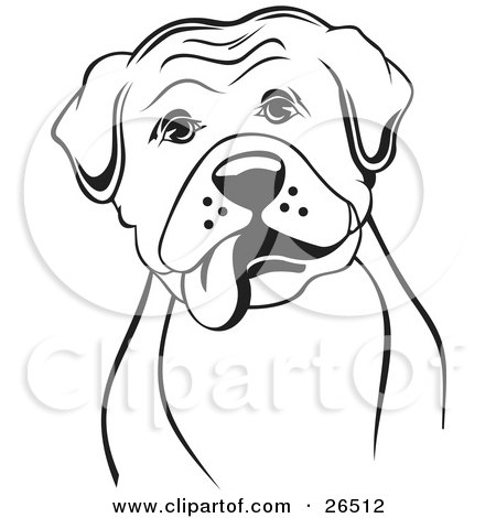 Clipart Illustration of a Boxer Dog With His Tongue Hanging Out Of His Mouth, Black And White by David Rey